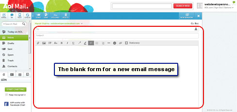 The new message form - blank