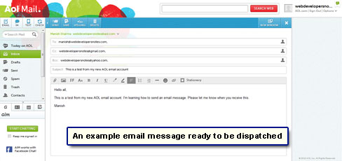 Email ready to be sent to recipients