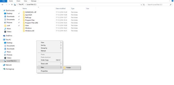 Create new folder under C: drive