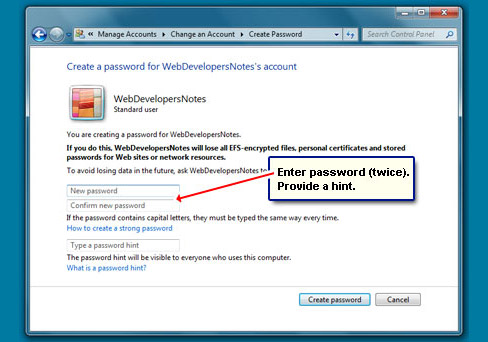 how to create user account in windows 7 professional