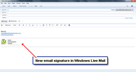 how to add signiture to email on windows live