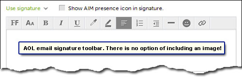 AOL email signature toolbar - no direct option to put an image inside the signature