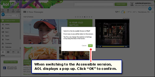 Pop-up displayed when switching to the Accessible version from the Standard webmail layout in AOL