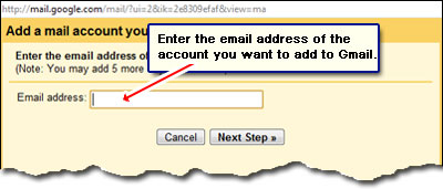Enter the email address of the account you want to add in Gmail