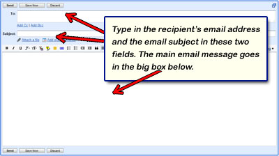 Composing a new email message in Gmail - enter the recipient's email address, the subject and the main matter