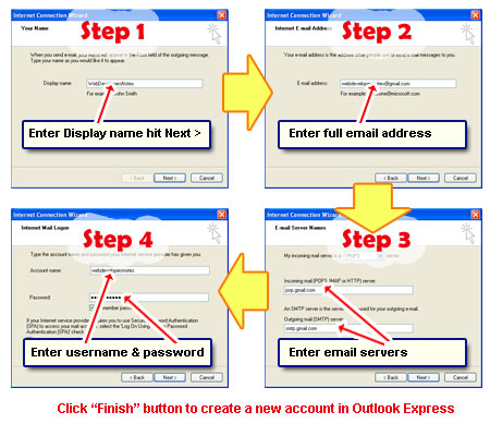 Add account to download Gmail to Outlook Express in a few steps