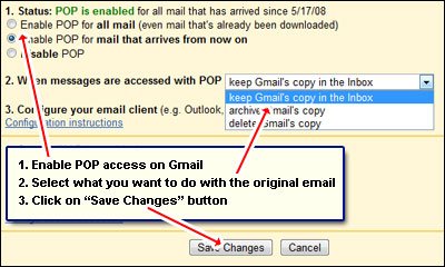 Enabling POP access on your Gmail account - 3 mouse clicks under the settings