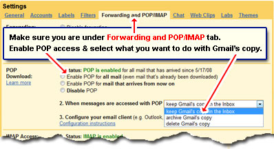 Free Gmail POP3 access for downloading emails to your computer