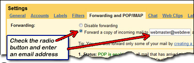 Gmail email forwarding options