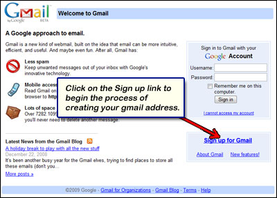 Gmail homepage with the signup link