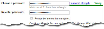 Enter Gmail password twice and make sure its complex by checking the password strength bar