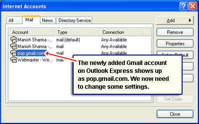 The newly added Gmail account on Outlook Express shows up as pop.gmail.com