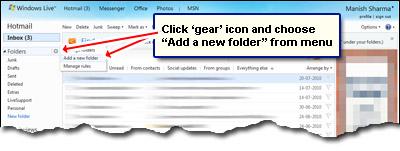 Fügen Sie einen neuen Ordner in Ihrem Hotmail-Konto