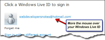 No login fields displayed on Hotmail sign in page- just your Windows Live ID