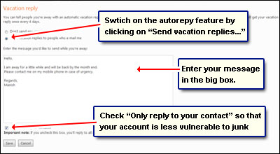 Composing an autoreply - a vacation reply email - in Hotmail through the options and settings