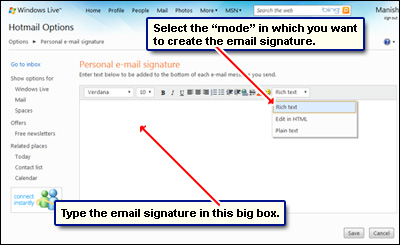 Hotmail email signature - how to create one - photo#27