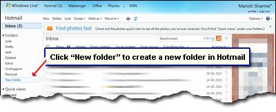 Hotmail New Folder Link in einem neuen Ordner erstellen