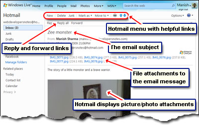Reading and displaying an email message in Hotmail