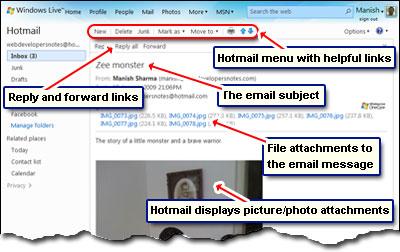 Lesen und Anzeigen einer E-Mail in Hotmail