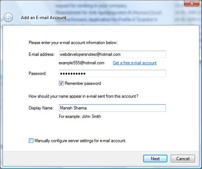 Enter your email address, password and display name to setup the Hotmail account on Windows Live Mail email client