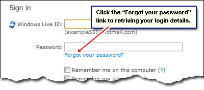 The Forgot your password link displayed just below the Hotmail login fields
