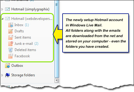 Hotmail account added to Windows Live Mail with all folders and email messages