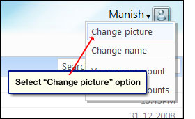 The change picture option in Hotmail