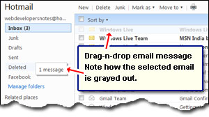 Move email messages to folders using Hotmail drag-n-drop functionality