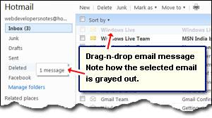 Hotmail drag-n-Drop E-Mails - das Verschieben von Nachrichten in Ordnern