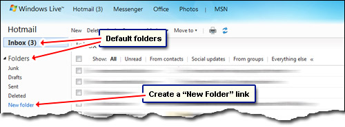 Hotmail default folders and storage space