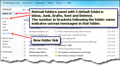 Hotmail folders - managing your email messages