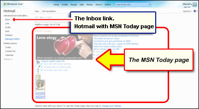 The Hotmail Inbox link located near the top left when MSN Today page is displayed