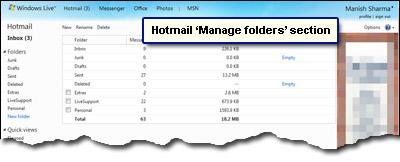 Hotmail Ordner verwalten Abschnitt zum Umbenennen und Löschen von Ordnern.