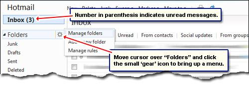 Hotmail ungelesenen E-Mails und Ordner verwalten Link, um weitere Ordner erstellen und organisieren Sie Ihre E-Mails