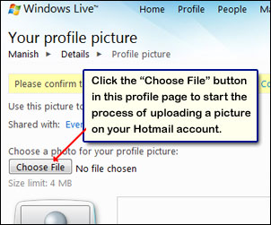 Hotmail profile page through which you can upload your photograph
