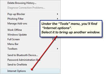 Der Internet Explorer im Menü Extras