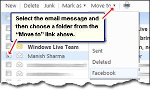 Manuelles Verschieben einer E-Mail-Nachricht von einem Ordner in einen anderen in Hotmail