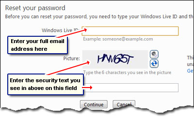 Retrieve Hotmail password by providing your Windows Live ID