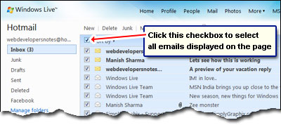 Select all emails on the page with one mouse click - checkbox to the left of the Sort by link