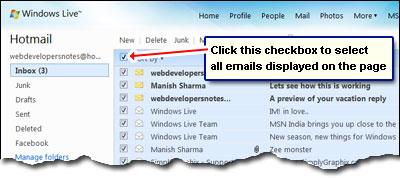 Wählen Sie alle E-Mails auf der Seite mit einem Mausklick - Checkbox links neben der Sortierung Link