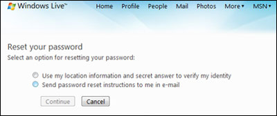 Two methods of retrieving a lost or forgotten Hotmail account password