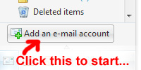 Windows Live Mail Add email account button