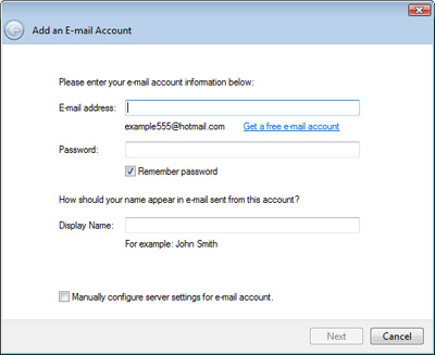 Add hotmail account to Windows Live Mail email client