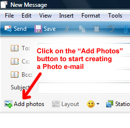 Add photos button in Windows Live Mail