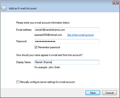 Add and setup a new email account on Windows Live Mail email client