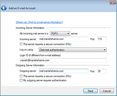 Entering your email server information to setup the new email account in Windows Live Mail
