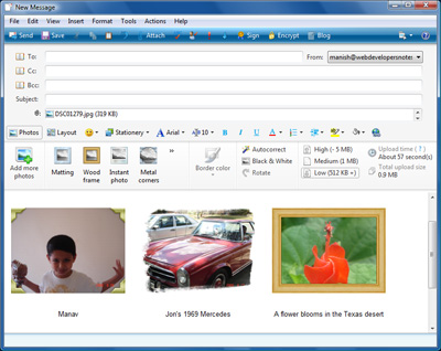 Pictures with frames, borders and text ready to be sent over email using the Photo email feature of Windows Live mail