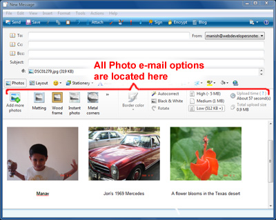 Instructions on how to send pictures over email using Windows Live Mail email client