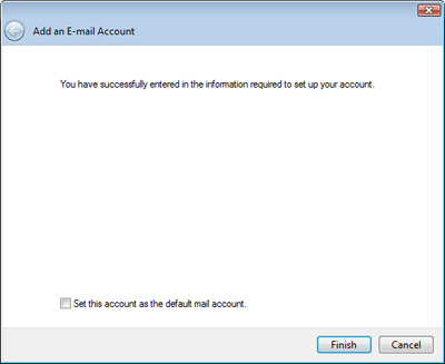 The final screen of the Windows Live Mail setup process