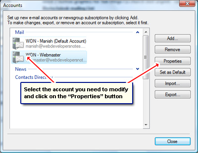 Bring up the email account properties in Windows Live Mail email program